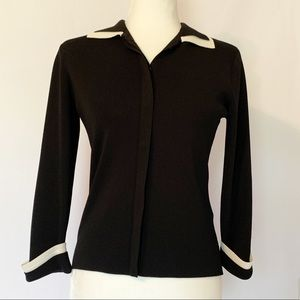 Venini Women's Black Cardigan with White Trim XS